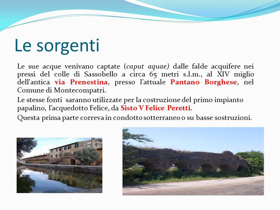 Le sorgenti Le sue acque venivano captate (caput aquae) dalle falde acquifere nei pressi del colle di Sassobello a circa 65 metri s.l.m., al XIV migli