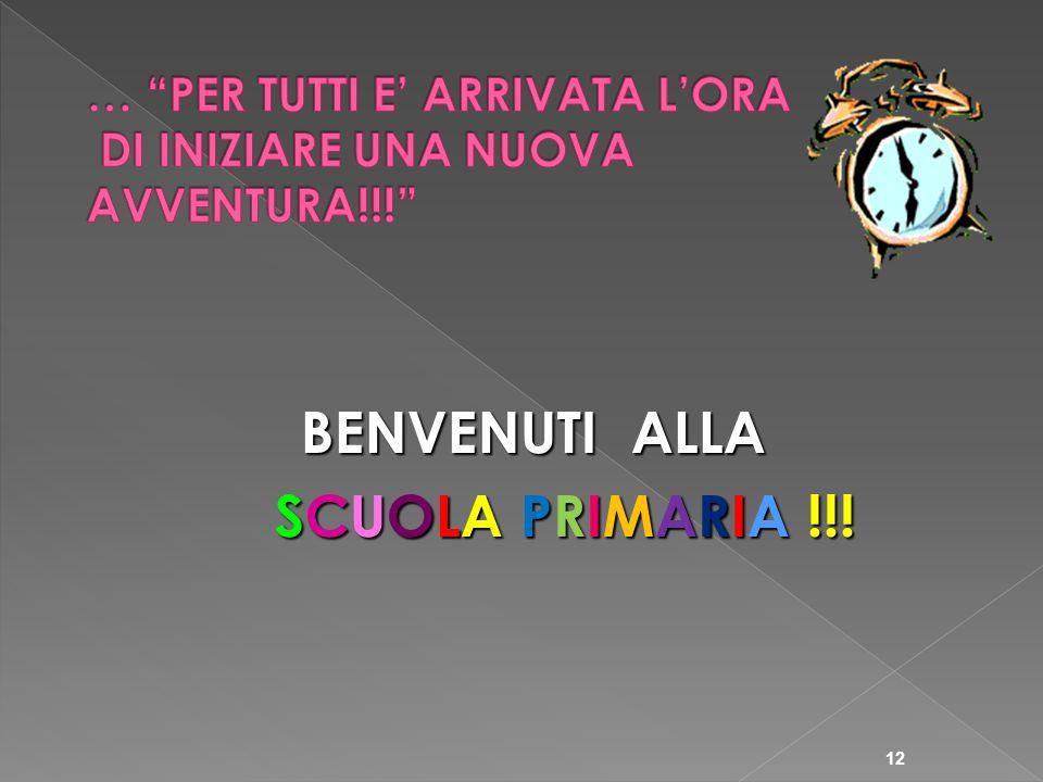 BENVENUTI ALLA SCUOLA PRIMARIA !!! SCUOLA PRIMARIA !!! 12