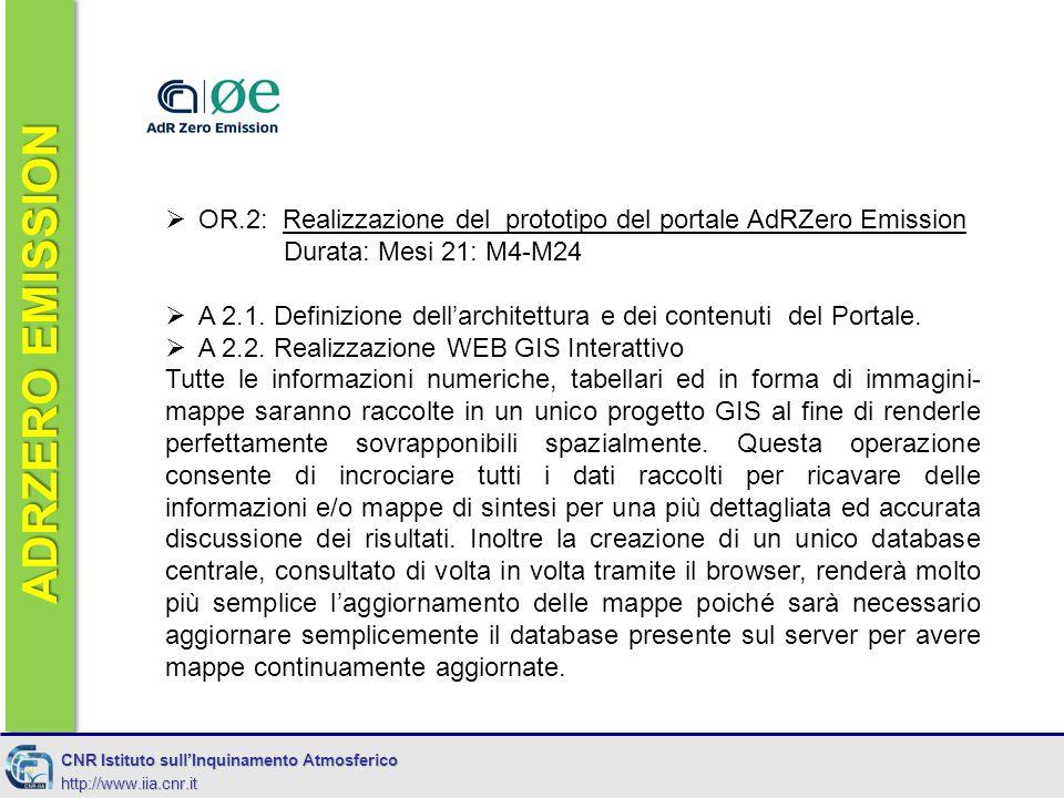 ADRZERO EMISSION CNR Istituto sull'Inquinamento Atmosferico http://www.iia.cnr.it  OR.2: Realizzazione del prototipo del portale AdRZero Emission Durata: Mesi 21: M4-M24  A 2.1.