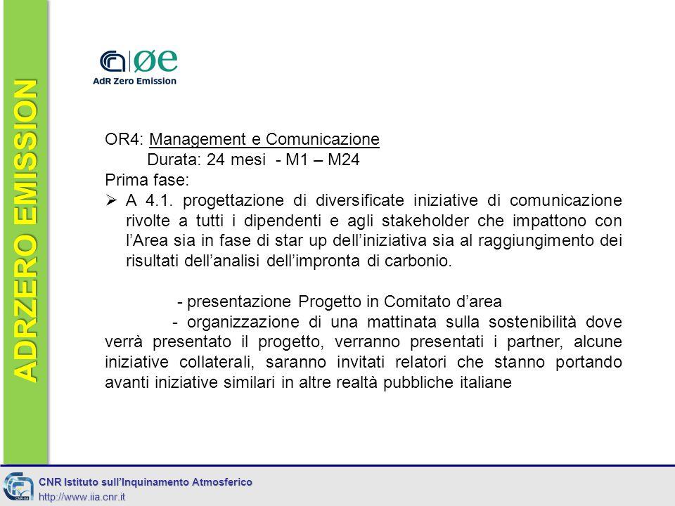 ADRZERO EMISSION CNR Istituto sull'Inquinamento Atmosferico http://www.iia.cnr.it OR4: Management e Comunicazione Durata: 24 mesi - M1 – M24 Prima fase:  A 4.1.