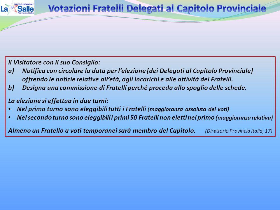 Il Visitatore con il suo Consiglio: a)Notifica con circolare la data per l'elezione [dei Delegati al Capitolo Provinciale] offrendo le notizie relativ