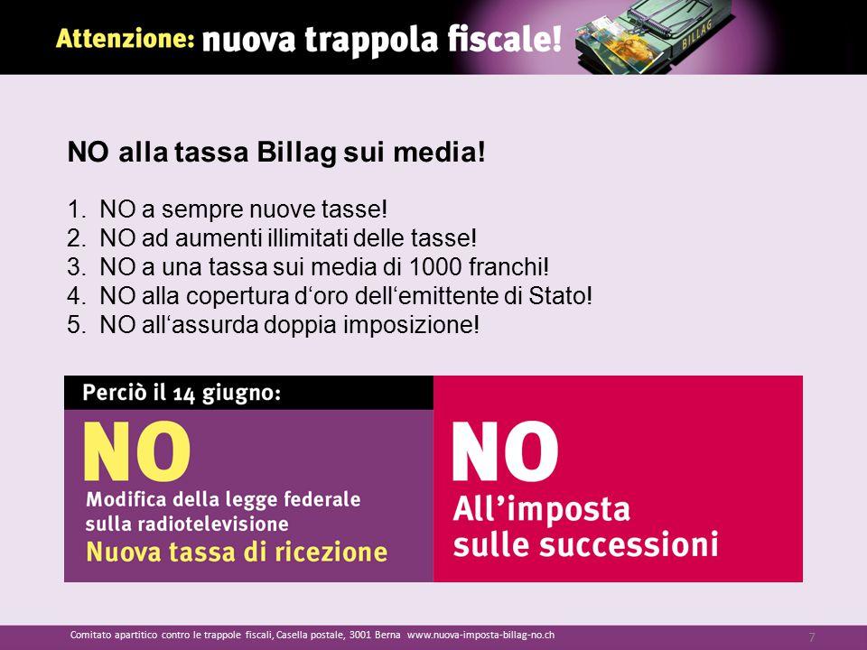 NO alla tassa Billag sui media! 1.NO a sempre nuove tasse! 2.NO ad aumenti illimitati delle tasse! 3.NO a una tassa sui media di 1000 franchi! 4.NO al