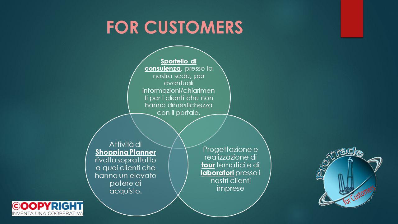 FOR CUSTOMERS Sportello di consulenza, presso la nostra sede, per eventuali informazioni/chiarimen ti per i clienti che non hanno dimestichezza con il portale.