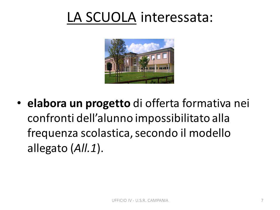 LA SCUOLA interessata: elabora un progetto di offerta formativa nei confronti dell'alunno impossibilitato alla frequenza scolastica, secondo il modello allegato (All.1).