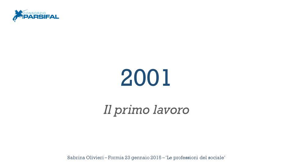 2001 Il primo lavoro Sabrina Olivieri – Formia 23 gennaio 2015 – 'Le professioni del sociale'