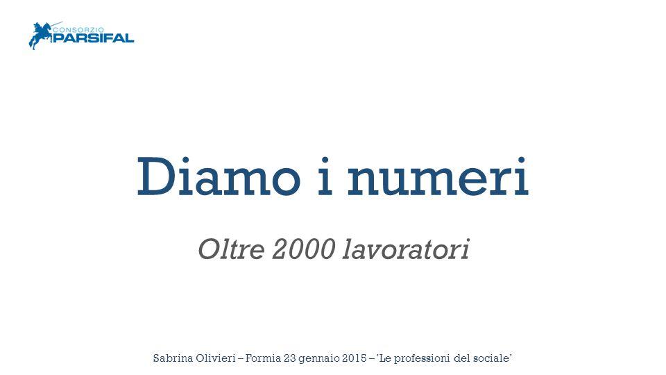 Diamo i numeri Oltre 2000 lavoratori Sabrina Olivieri – Formia 23 gennaio 2015 – 'Le professioni del sociale'