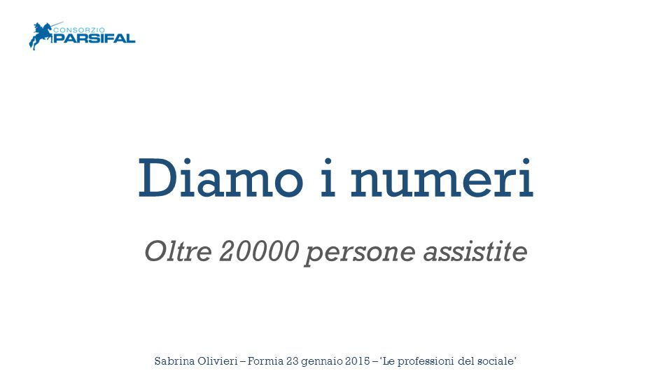 Diamo i numeri Oltre 20000 persone assistite Sabrina Olivieri – Formia 23 gennaio 2015 – 'Le professioni del sociale'