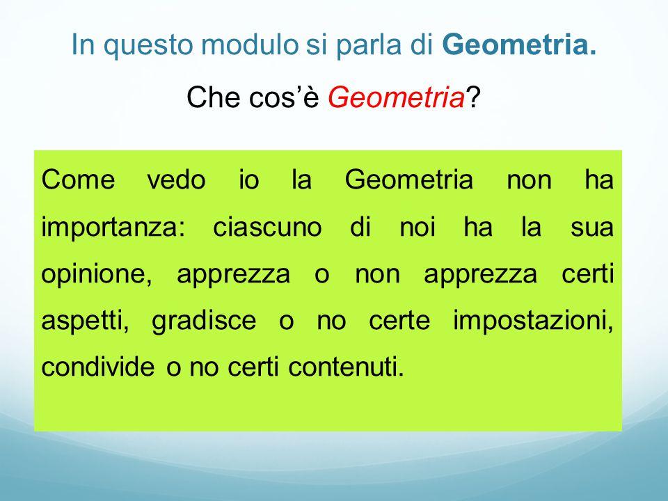 In questo modulo si parla di Geometria. Che cos'è Geometria? Come vedo io la Geometria non ha importanza: ciascuno di noi ha la sua opinione, apprezza