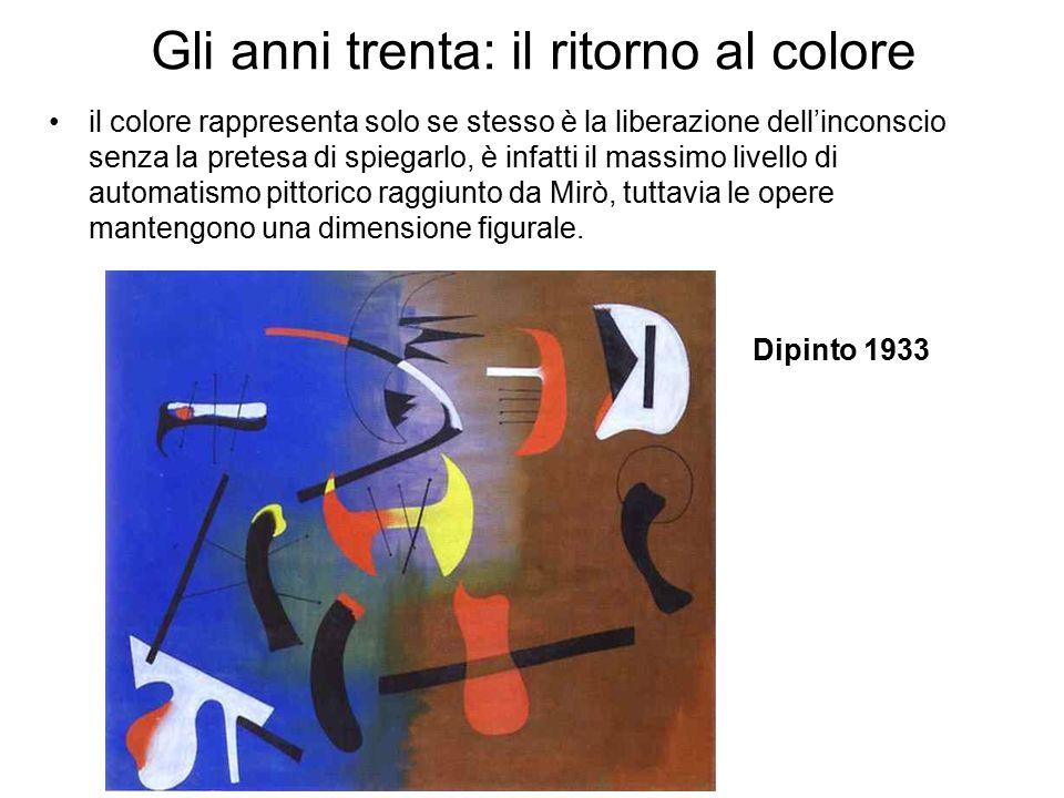 Gli anni trenta: il ritorno al colore il colore rappresenta solo se stesso è la liberazione dell'inconscio senza la pretesa di spiegarlo, è infatti il