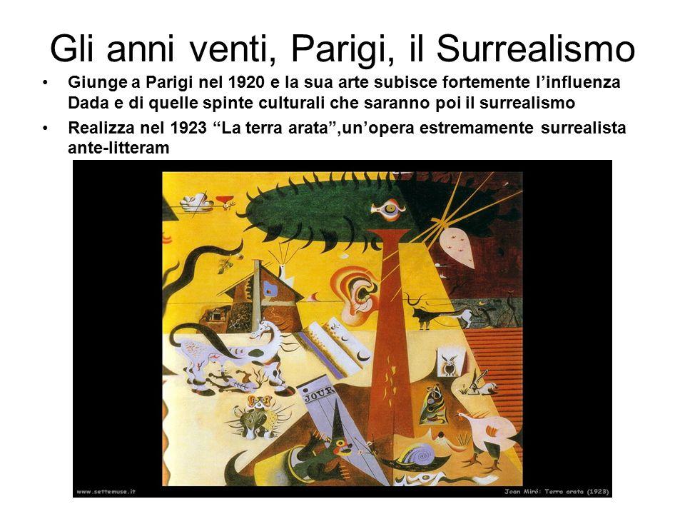Gli anni venti, Parigi, il Surrealismo Giunge a Parigi nel 1920 e la sua arte subisce fortemente l'influenza Dada e di quelle spinte culturali che sar