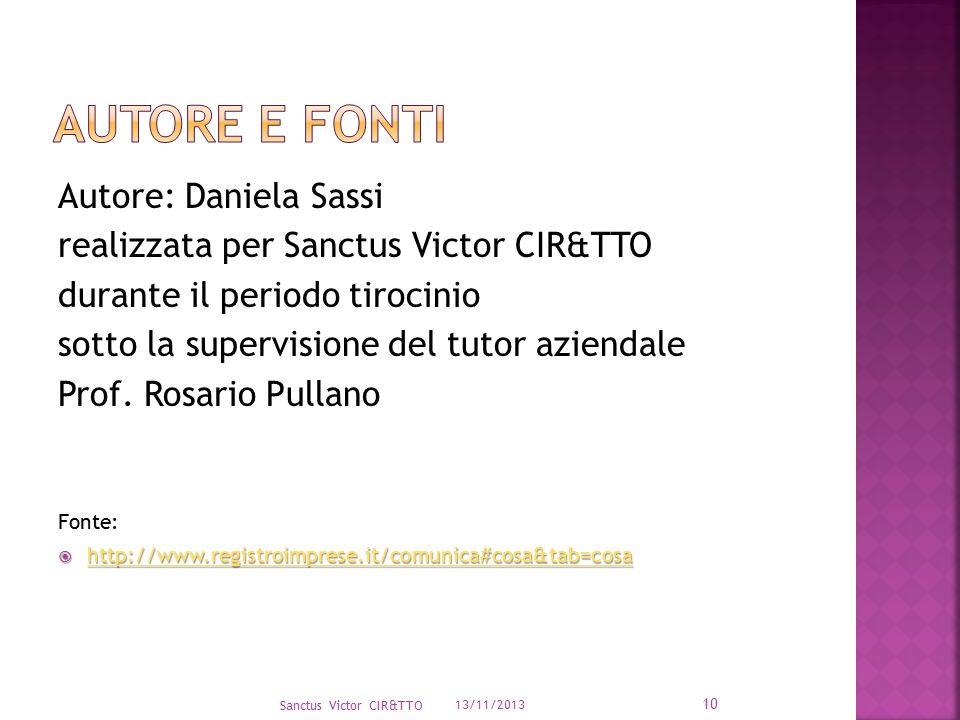 13/11/2013 Sanctus Victor CIR&TTO 10 Autore: Daniela Sassi realizzata per Sanctus Victor CIR&TTO durante il periodo tirocinio sotto la supervisione de