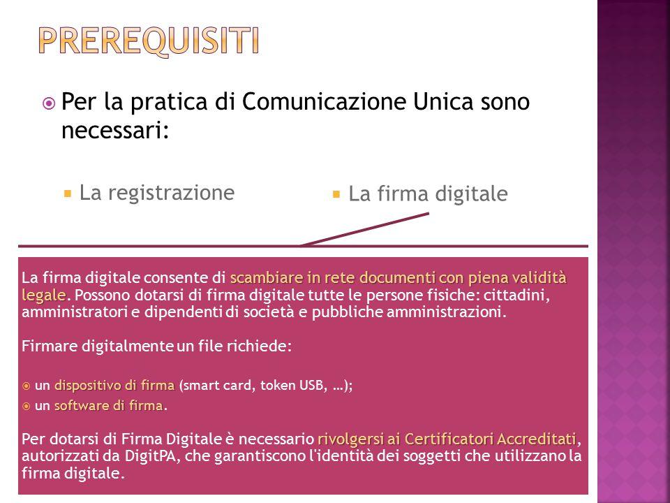 13/11/2013 Sanctus Victor CIR&TTO 5  Per la pratica di Comunicazione Unica sono necessari:  La registrazione scambiare in rete documenti con piena v