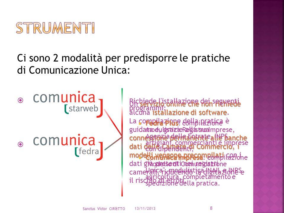 Ci sono 2 modalità per predisporre le pratiche di Comunicazione Unica:   13/11/2013 Sanctus Victor CIR&TTO 8 servizio online che non richiede istall