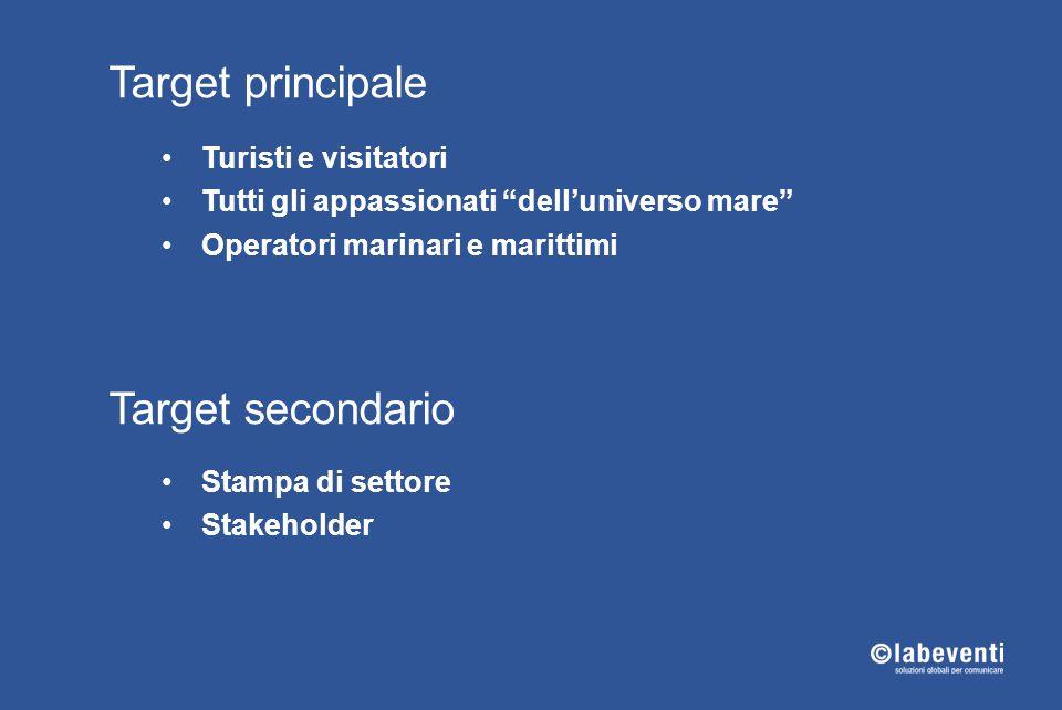 """Target principale Turisti e visitatori Tutti gli appassionati """"dell'universo mare"""" Operatori marinari e marittimi Target secondario Stampa di settore"""
