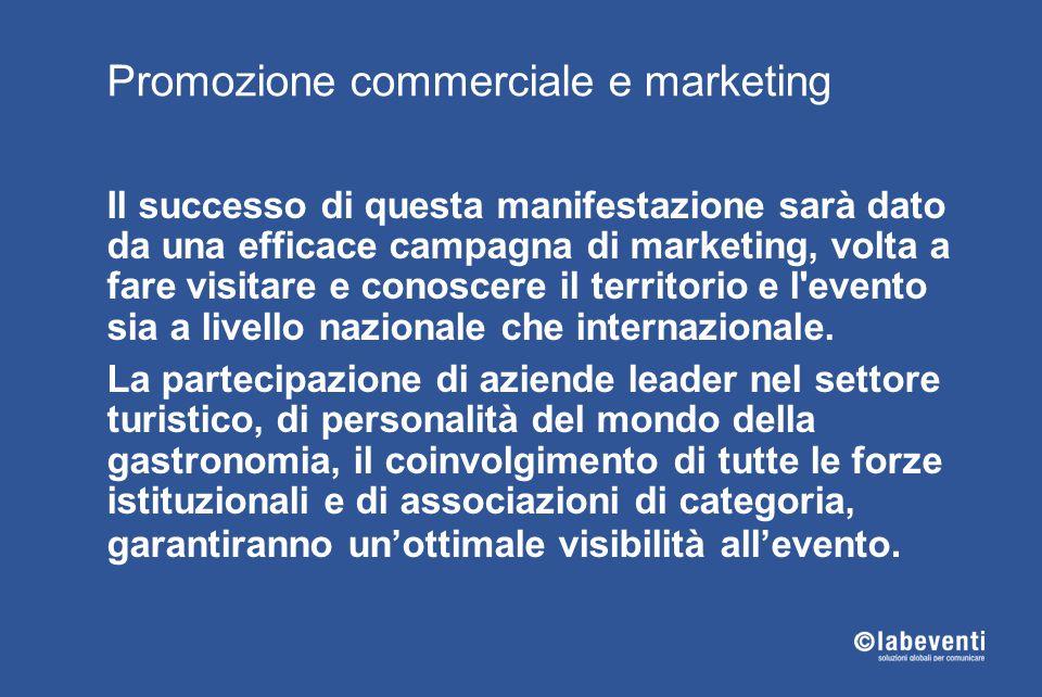 Promozione commerciale e marketing Il successo di questa manifestazione sarà dato da una efficace campagna di marketing, volta a fare visitare e conos