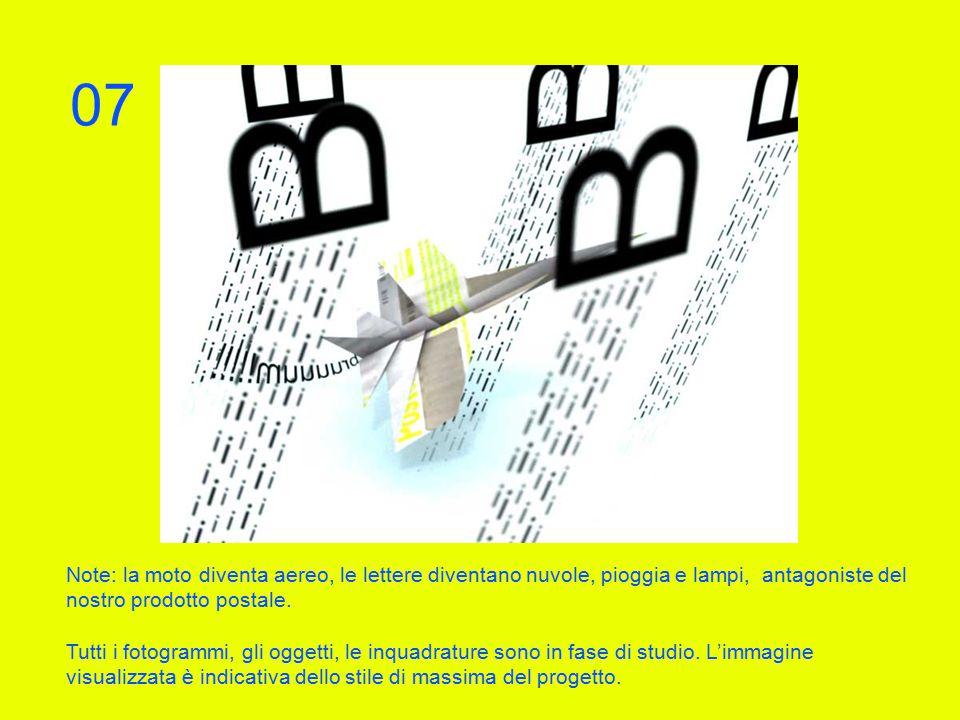 Note: la moto diventa aereo, le lettere diventano nuvole, pioggia e lampi, antagoniste del nostro prodotto postale.