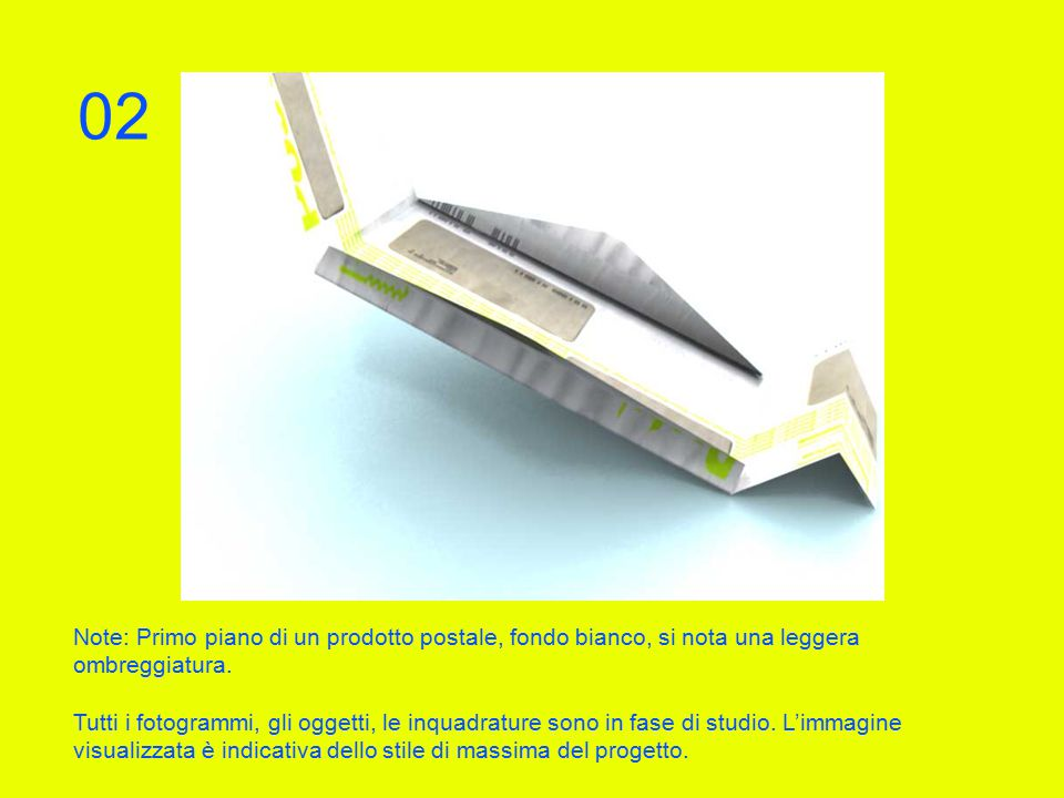 Note: Primo piano di un prodotto postale, fondo bianco, si nota una leggera ombreggiatura.