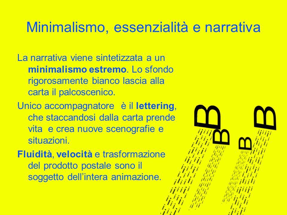 Minimalismo, essenzialità e narrativa La narrativa viene sintetizzata a un minimalismo estremo.
