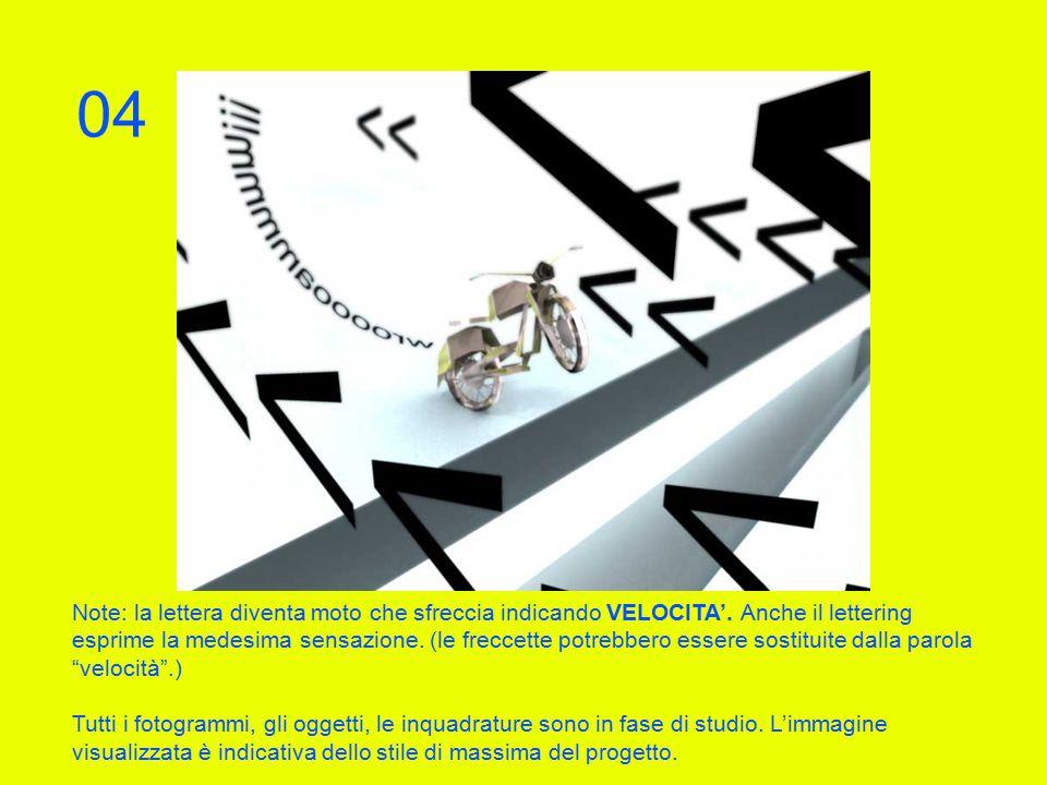 Note: la lettera diventa moto che sfreccia indicando VELOCITA'.