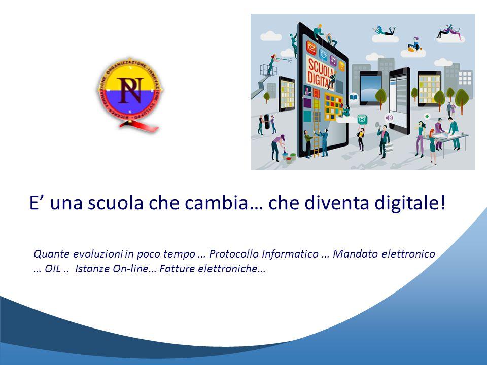 E' una scuola che cambia… che diventa digitale! Quante evoluzioni in poco tempo … Protocollo Informatico … Mandato elettronico … OIL.. Istanze On-line
