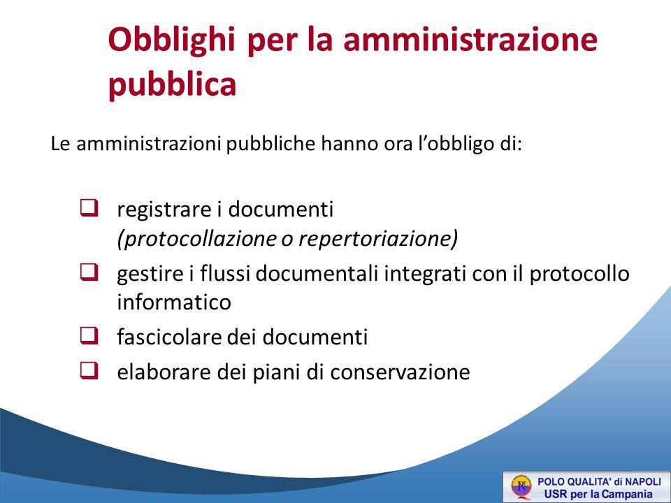 Obblighi per la amministrazione pubblica Le amministrazioni pubbliche hanno ora l'obbligo di:  registrare i documenti (protocollazione o repertoriazione)  gestire i flussi documentali integrati con il protocollo informatico  fascicolare dei documenti  elaborare dei piani di conservazione
