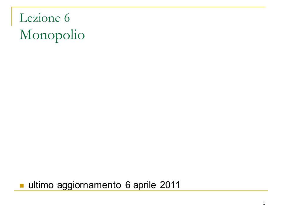 1 Lezione 6 Monopolio ultimo aggiornamento 6 aprile 2011