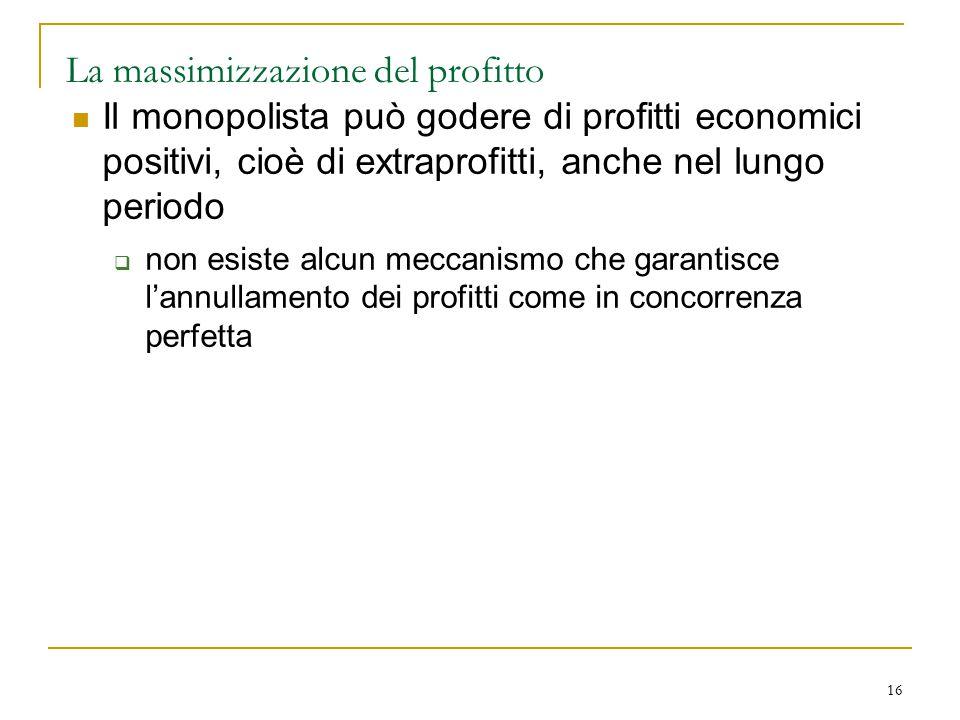 16 La massimizzazione del profitto Il monopolista può godere di profitti economici positivi, cioè di extraprofitti, anche nel lungo periodo  non esis