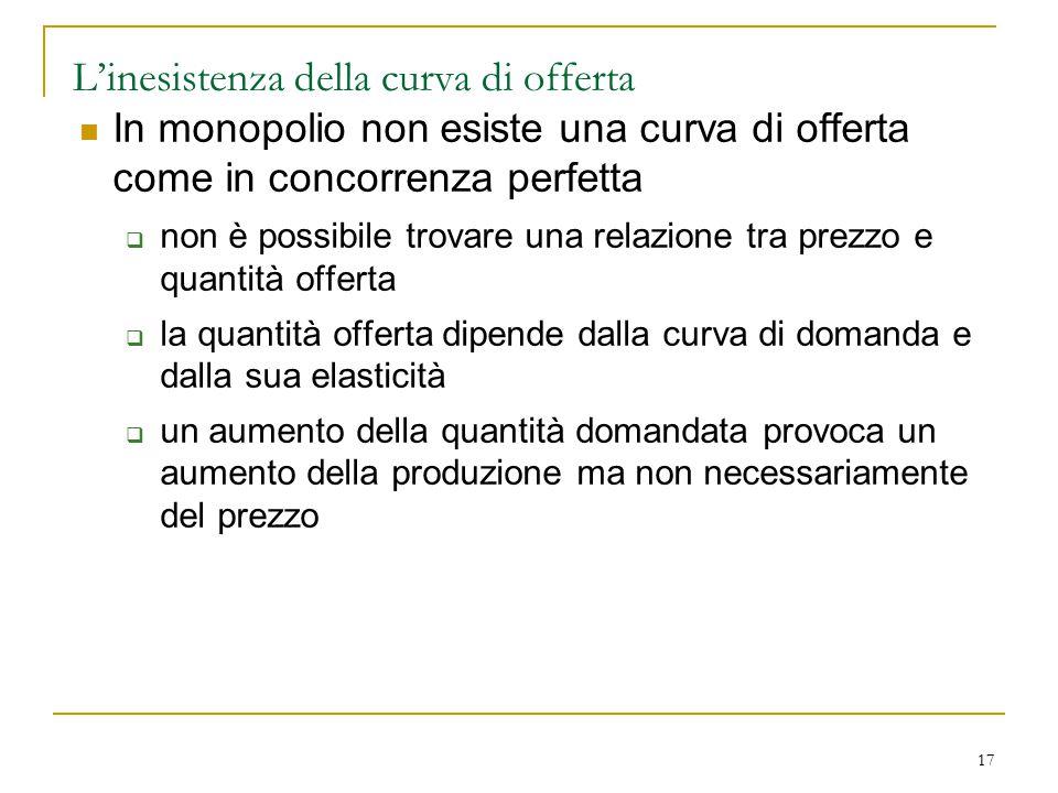 17 L'inesistenza della curva di offerta In monopolio non esiste una curva di offerta come in concorrenza perfetta  non è possibile trovare una relazi