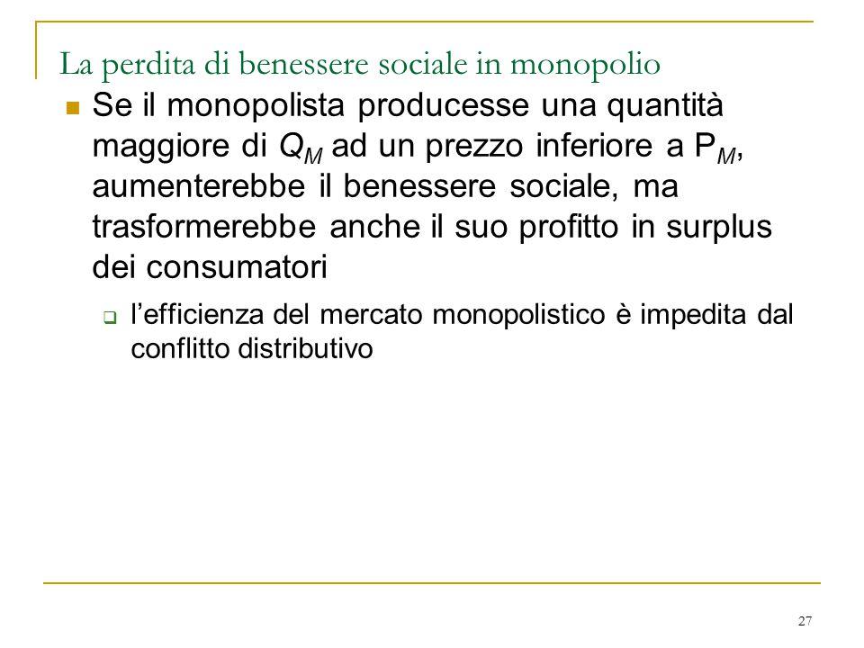 27 La perdita di benessere sociale in monopolio Se il monopolista producesse una quantità maggiore di Q M ad un prezzo inferiore a P M, aumenterebbe i