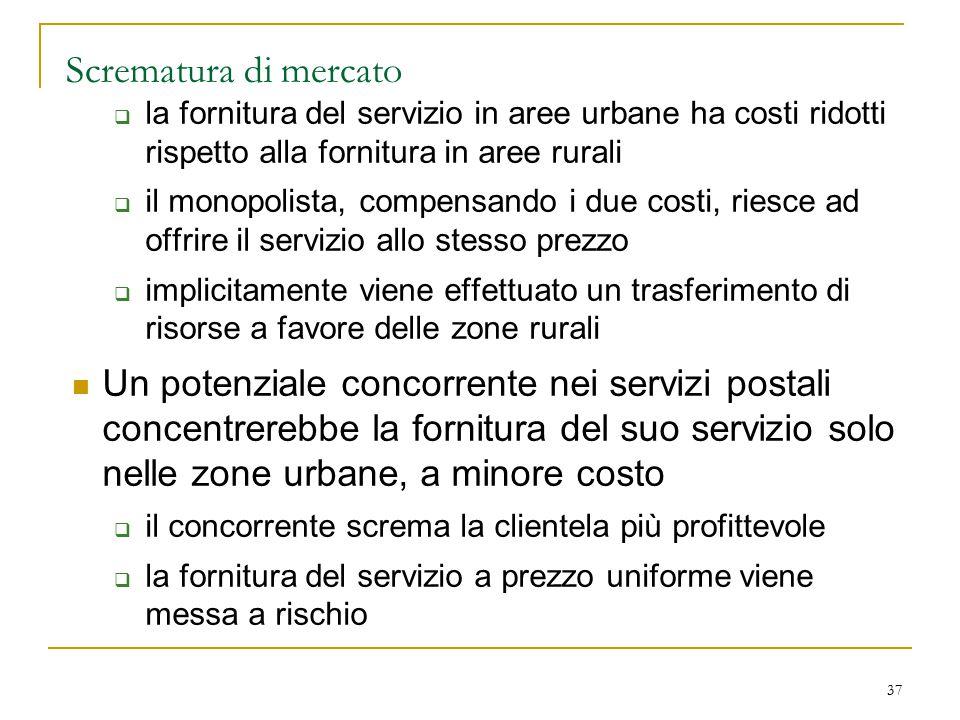 37 Scrematura di mercato  la fornitura del servizio in aree urbane ha costi ridotti rispetto alla fornitura in aree rurali  il monopolista, compensa