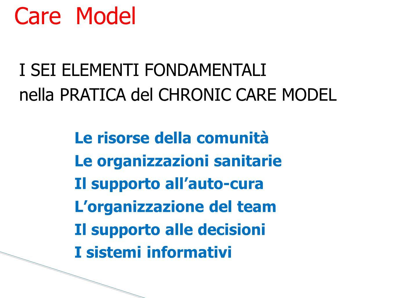 Le risorse della comunità Le organizzazioni sanitarie Il supporto all'auto-cura L'organizzazione del team Il supporto alle decisioni I sistemi informa
