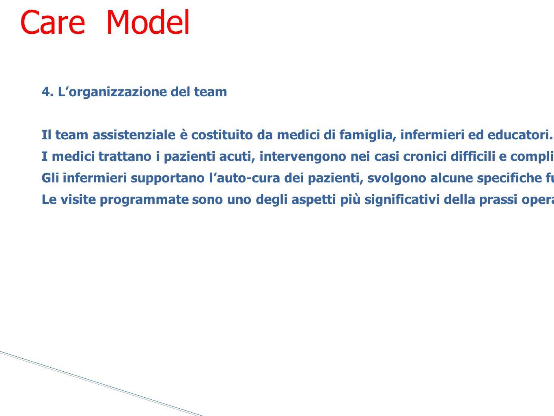 4. L'organizzazione del team Il team assistenziale è costituito da medici di famiglia, infermieri ed educatori. All'interno del team deve essere intro