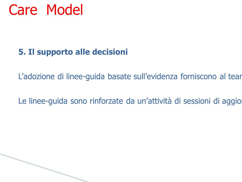 5. Il supporto alle decisioni L'adozione di linee-guida basate sull'evidenza forniscono al team gli standard per offrire un'assistenza ottimale. Le li