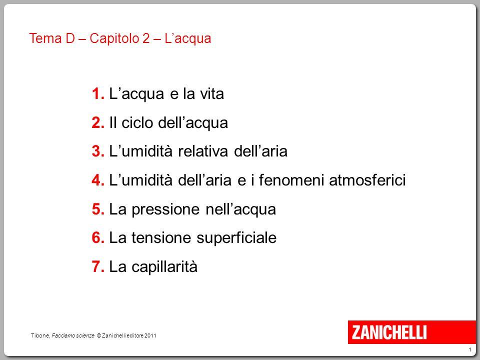 1 Tibone, Facciamo scienze © Zanichelli editore 2011 Tema D – Capitolo 2 – L'acqua 1. L'acqua e la vita 2. Il ciclo dell'acqua 3. L'umidità relativa d