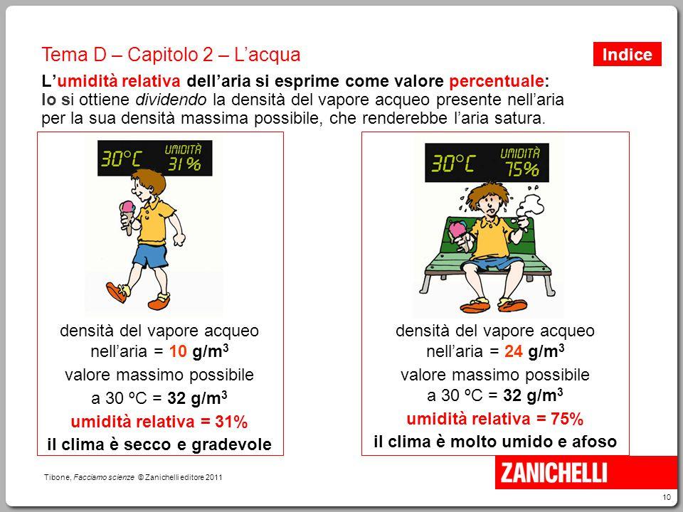 10 Tibone, Facciamo scienze © Zanichelli editore 2011 Tema D – Capitolo 2 – L'acqua L'umidità relativa dell'aria si esprime come valore percentuale: l