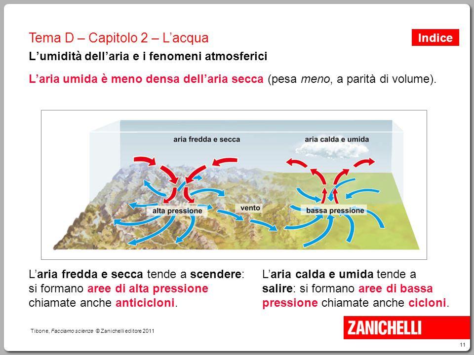 11 Tibone, Facciamo scienze © Zanichelli editore 2011 Tema D – Capitolo 2 – L'acqua L'umidità dell'aria e i fenomeni atmosferici L'aria fredda e secca