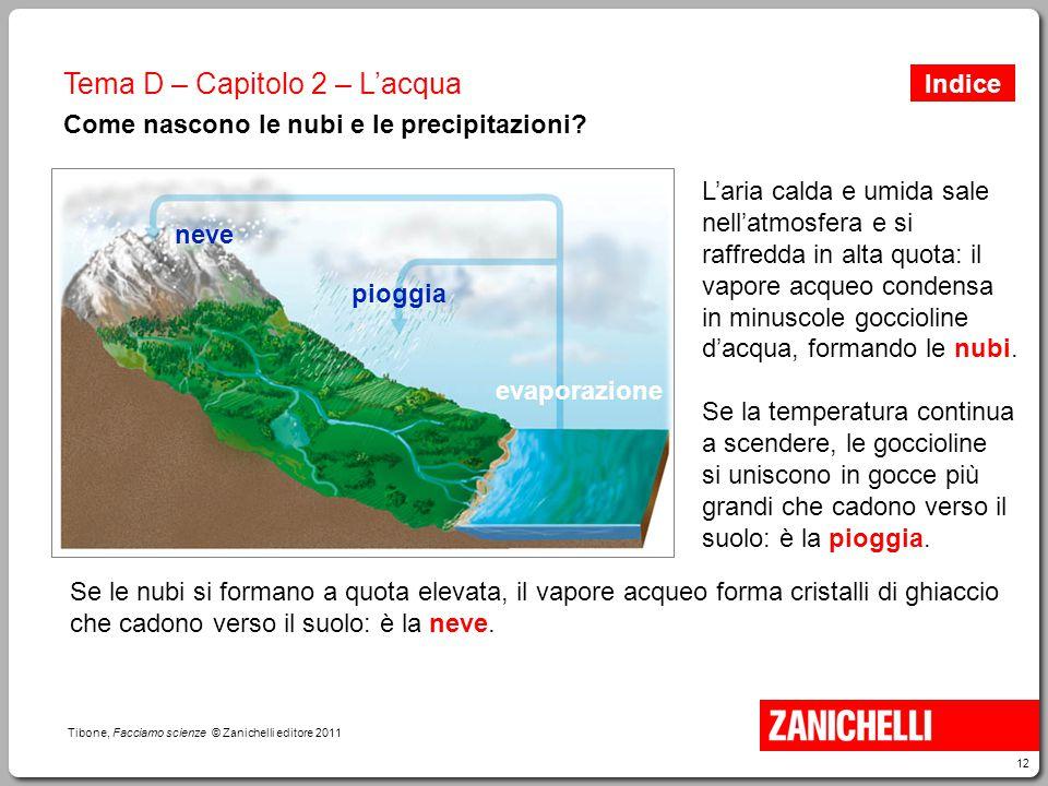12 Tibone, Facciamo scienze © Zanichelli editore 2011 Tema D – Capitolo 2 – L'acqua Come nascono le nubi e le precipitazioni? L'aria calda e umida sal