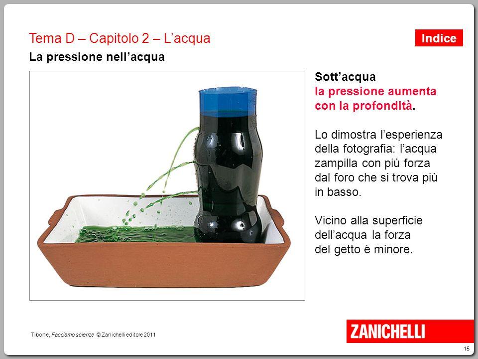 15 Tibone, Facciamo scienze © Zanichelli editore 2011 Tema D – Capitolo 2 – L'acqua La pressione nell'acqua Sott'acqua la pressione aumenta con la pro