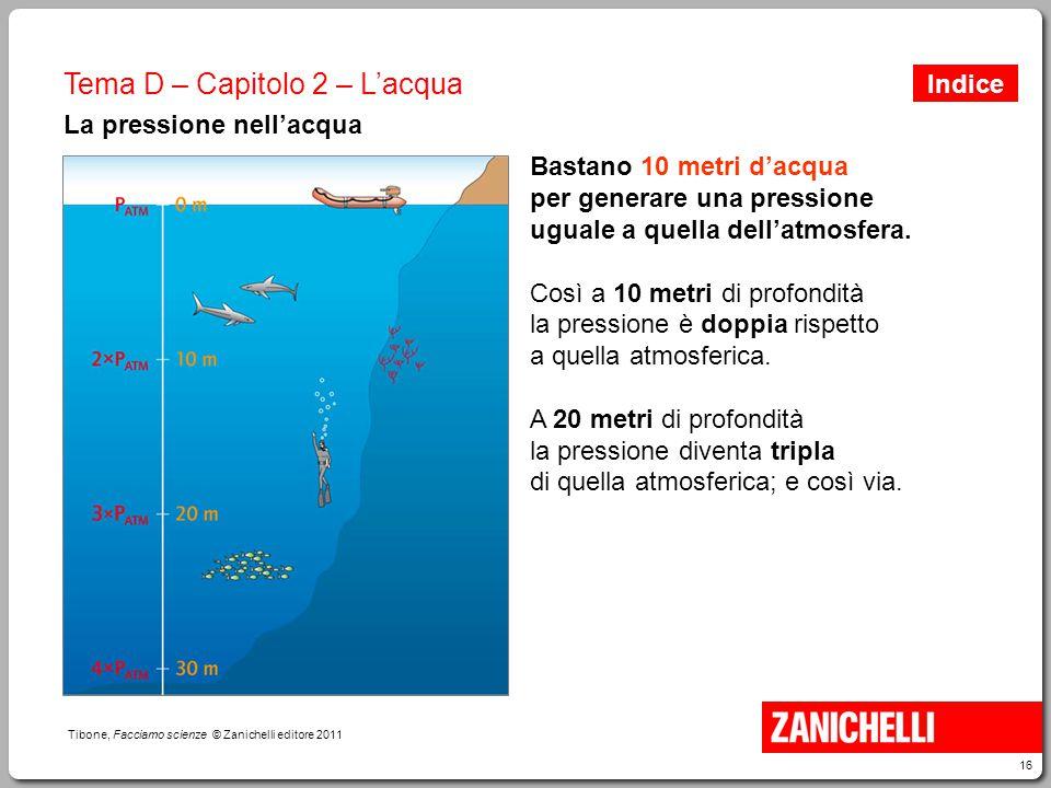 16 Tibone, Facciamo scienze © Zanichelli editore 2011 Tema D – Capitolo 2 – L'acqua La pressione nell'acqua Bastano 10 metri d'acqua per generare una