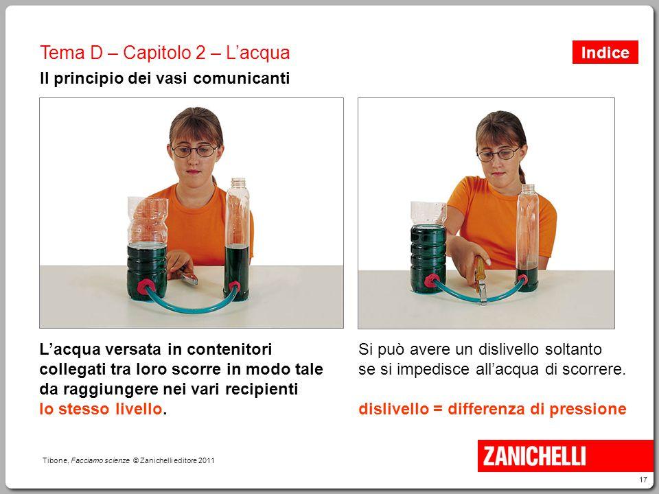 17 Tibone, Facciamo scienze © Zanichelli editore 2011 Tema D – Capitolo 2 – L'acqua Il principio dei vasi comunicanti L'acqua versata in contenitori c