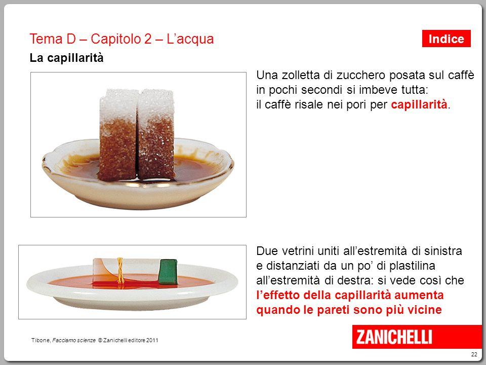22 Tibone, Facciamo scienze © Zanichelli editore 2011 Tema D – Capitolo 2 – L'acqua La capillarità Due vetrini uniti all'estremità di sinistra e dista