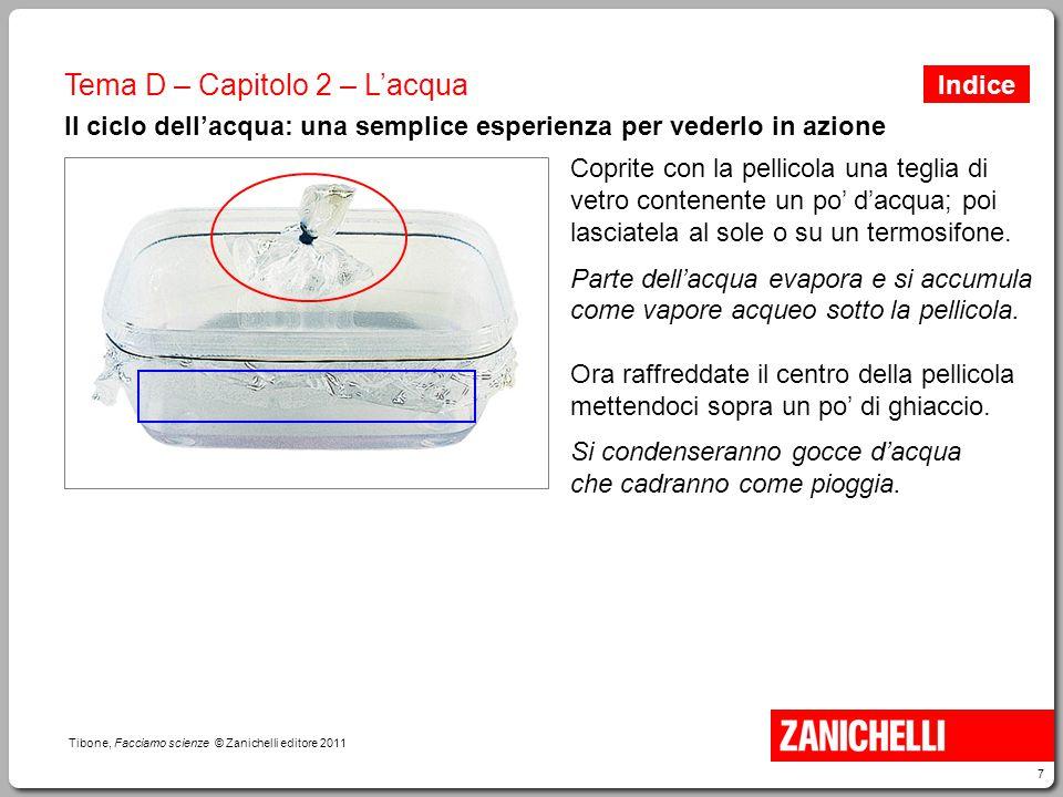 7 Tibone, Facciamo scienze © Zanichelli editore 2011 Tema D – Capitolo 2 – L'acqua Il ciclo dell'acqua: una semplice esperienza per vederlo in azione