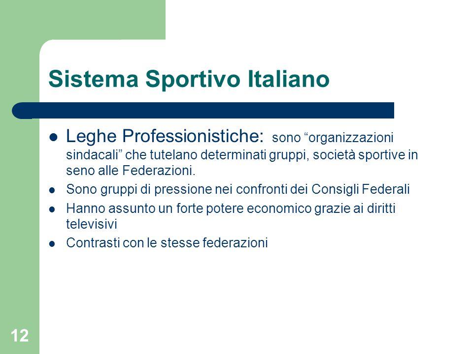 """Sistema Sportivo Italiano Leghe Professionistiche: sono """"organizzazioni sindacali"""" che tutelano determinati gruppi, società sportive in seno alle Fede"""