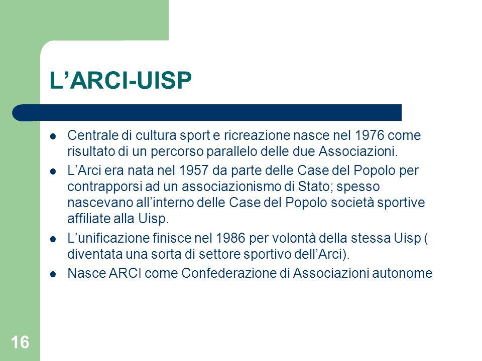 L'ARCI-UISP Centrale di cultura sport e ricreazione nasce nel 1976 come risultato di un percorso parallelo delle due Associazioni. L'Arci era nata nel