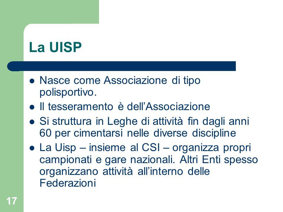 La UISP Nasce come Associazione di tipo polisportivo. Il tesseramento è dell'Associazione Si struttura in Leghe di attività fin dagli anni 60 per cime