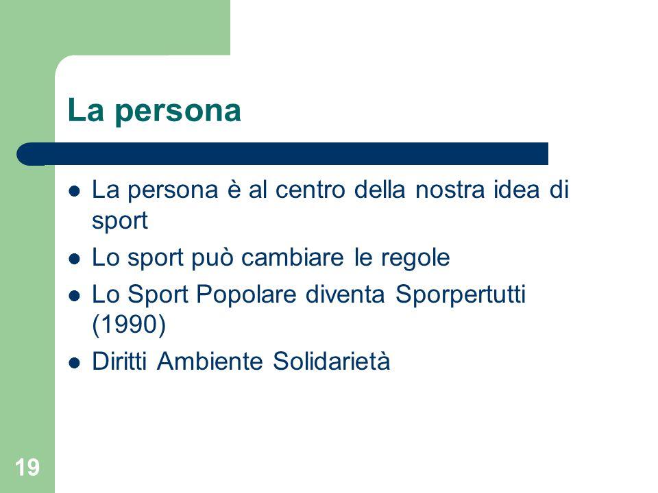 La persona La persona è al centro della nostra idea di sport Lo sport può cambiare le regole Lo Sport Popolare diventa Sporpertutti (1990) Diritti Amb