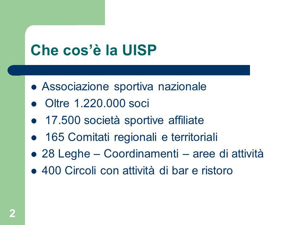 Che cos'è la UISP Associazione sportiva nazionale Oltre 1.220.000 soci 17.500 società sportive affiliate 165 Comitati regionali e territoriali 28 Legh