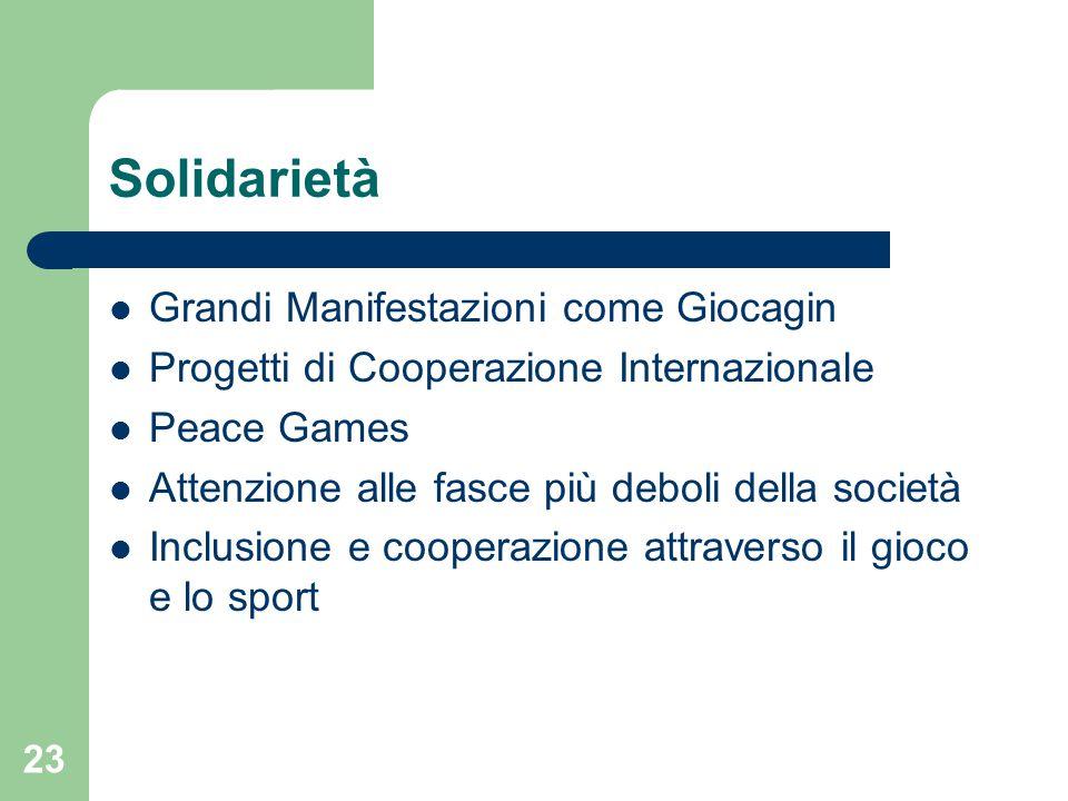 Solidarietà Grandi Manifestazioni come Giocagin Progetti di Cooperazione Internazionale Peace Games Attenzione alle fasce più deboli della società Inc