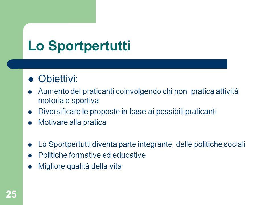 Lo Sportpertutti Obiettivi: Aumento dei praticanti coinvolgendo chi non pratica attività motoria e sportiva Diversificare le proposte in base ai possi