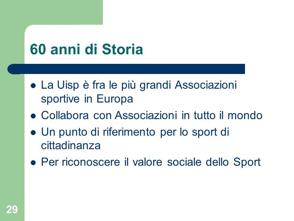 60 anni di Storia La Uisp è fra le più grandi Associazioni sportive in Europa Collabora con Associazioni in tutto il mondo Un punto di riferimento per